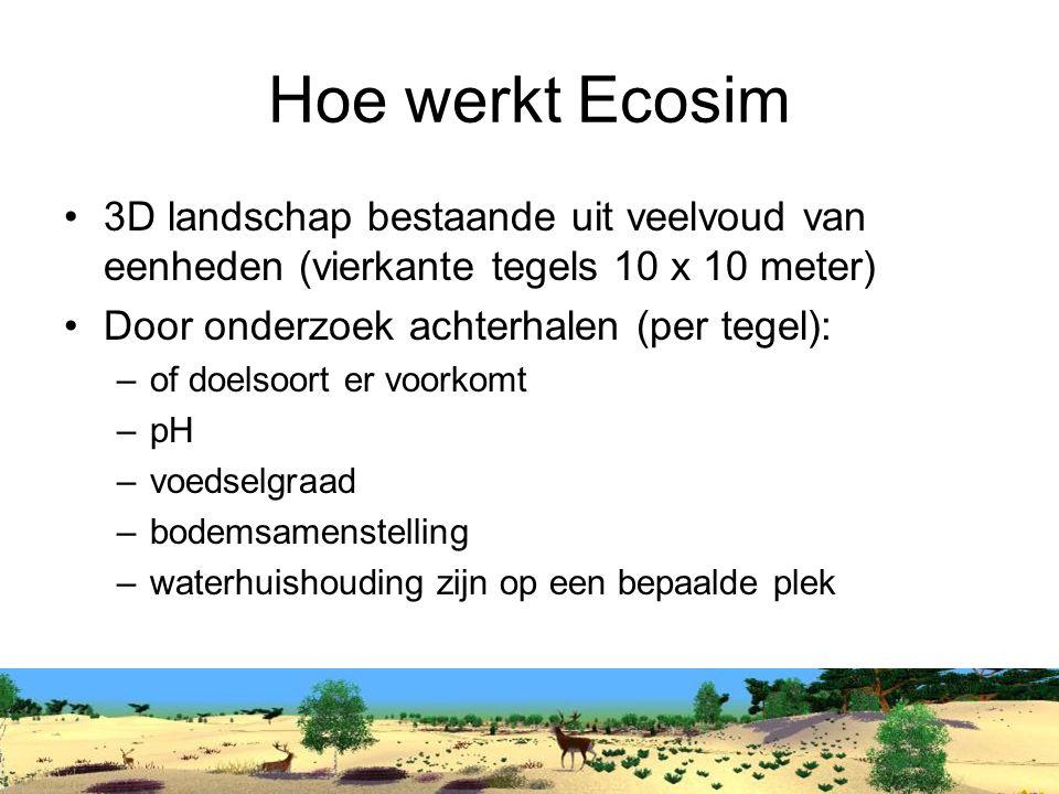 Hoe werkt Ecosim 3D landschap bestaande uit veelvoud van eenheden (vierkante tegels 10 x 10 meter) Door onderzoek achterhalen (per tegel):