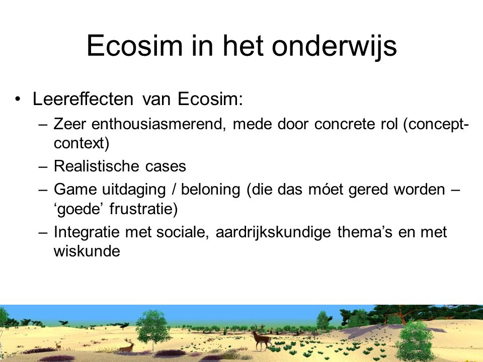 Ecosim in het onderwijs
