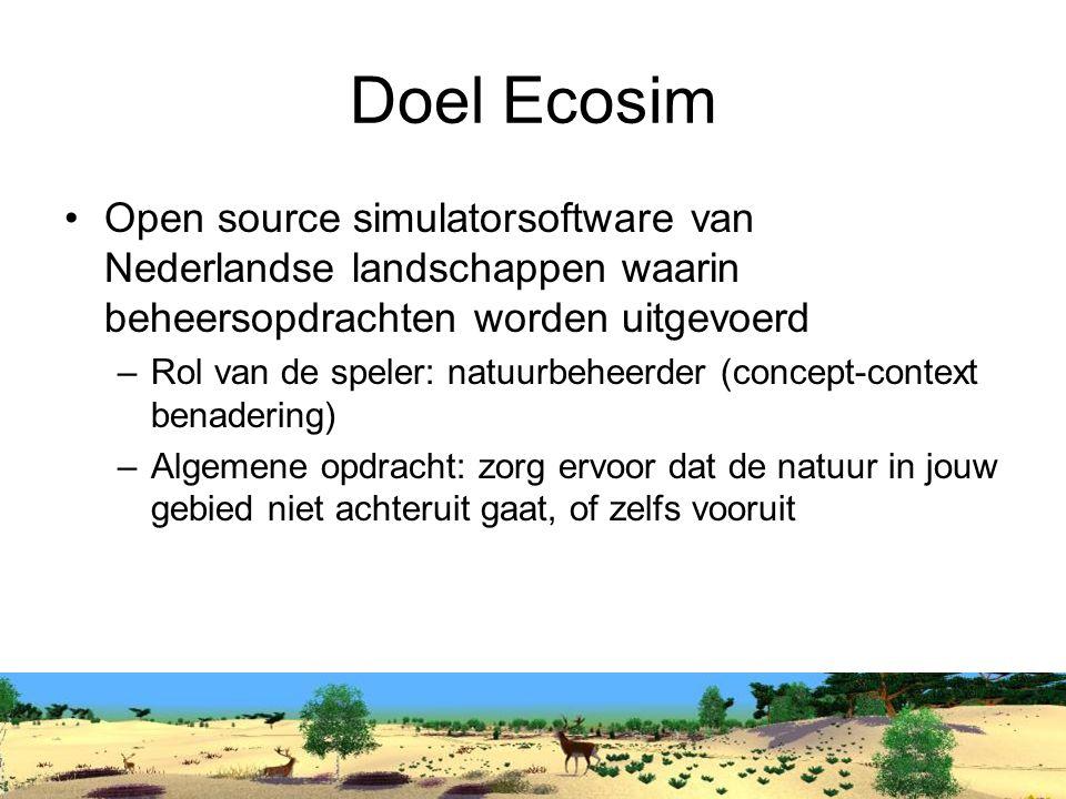 Doel Ecosim Open source simulatorsoftware van Nederlandse landschappen waarin beheersopdrachten worden uitgevoerd.