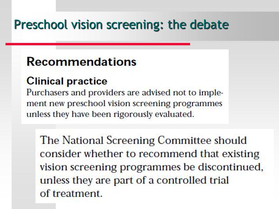Preschool vision screening: the debate