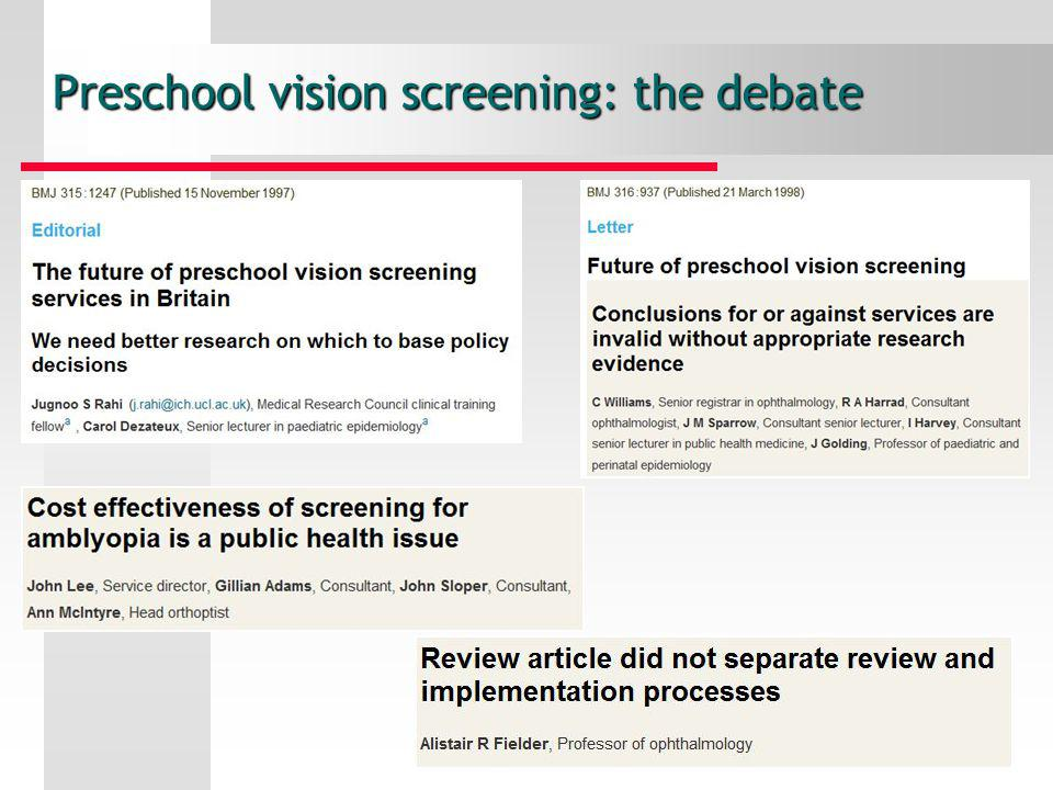 Preschool vision screening: the debate