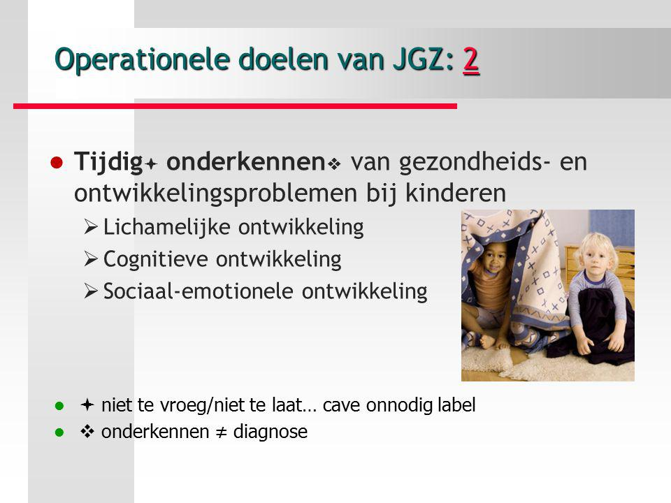 Operationele doelen van JGZ: 2
