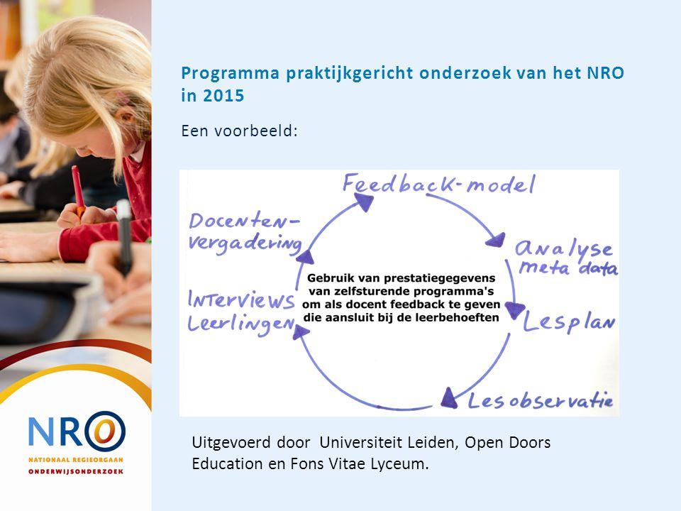 Programma praktijkgericht onderzoek van het NRO in 2015