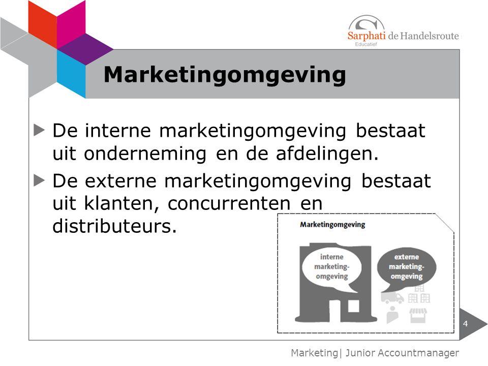 Marketingomgeving De interne marketingomgeving bestaat uit onderneming en de afdelingen.