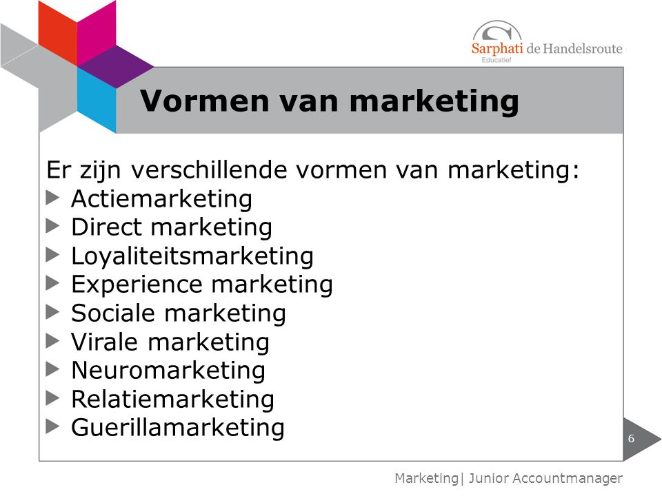 Vormen van marketing Er zijn verschillende vormen van marketing: