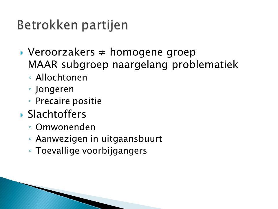 Betrokken partijen Veroorzakers ≠ homogene groep MAAR subgroep naargelang problematiek. Allochtonen.