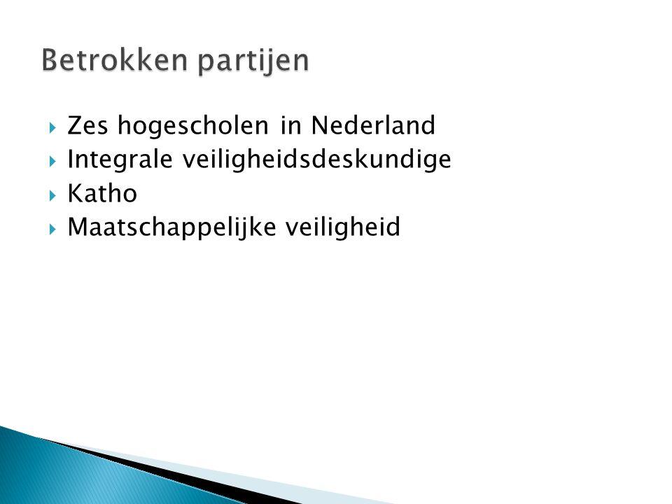 Betrokken partijen Zes hogescholen in Nederland