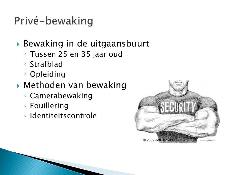 Privé-bewaking Bewaking in de uitgaansbuurt Methoden van bewaking