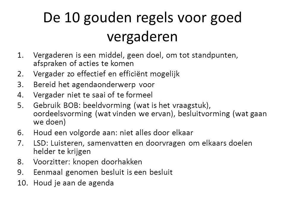 De 10 gouden regels voor goed vergaderen