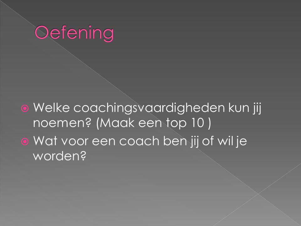 Oefening Welke coachingsvaardigheden kun jij noemen.