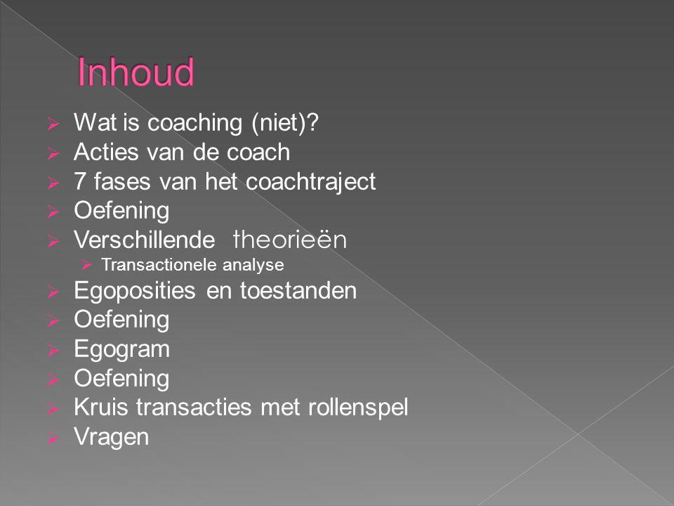 Inhoud Wat is coaching (niet) Acties van de coach