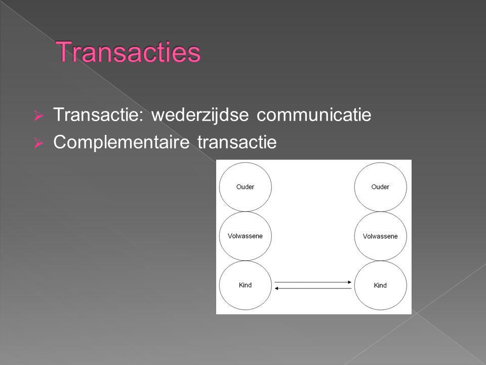 Transacties Transactie: wederzijdse communicatie