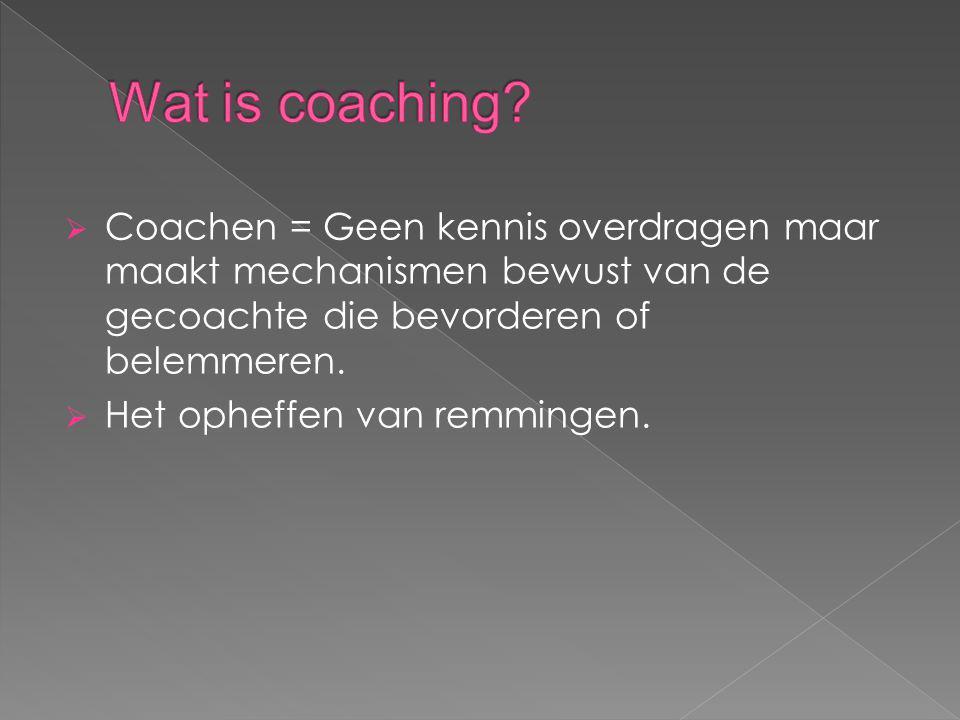 Wat is coaching Coachen = Geen kennis overdragen maar maakt mechanismen bewust van de gecoachte die bevorderen of belemmeren.