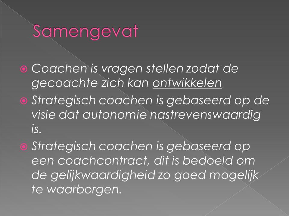 Samengevat Coachen is vragen stellen zodat de gecoachte zich kan ontwikkelen.