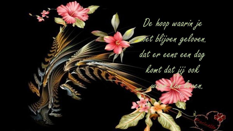 De hoop waarin je moet blijven geloven. dat er eens een dag komt dat jij ook weer kan leven.
