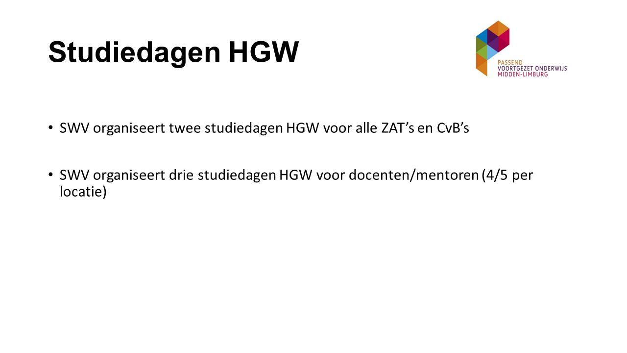 Studiedagen HGW SWV organiseert twee studiedagen HGW voor alle ZAT's en CvB's.
