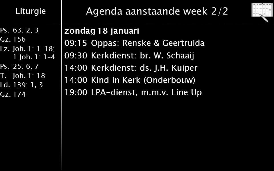 Agenda aanstaande week 2/2