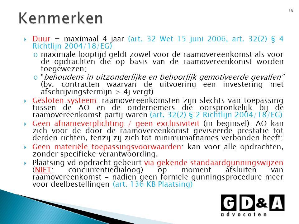 Kenmerken Duur = maximaal 4 jaar (art. 32 Wet 15 juni 2006, art. 32(2) § 4 Richtlijn 2004/18/EG)