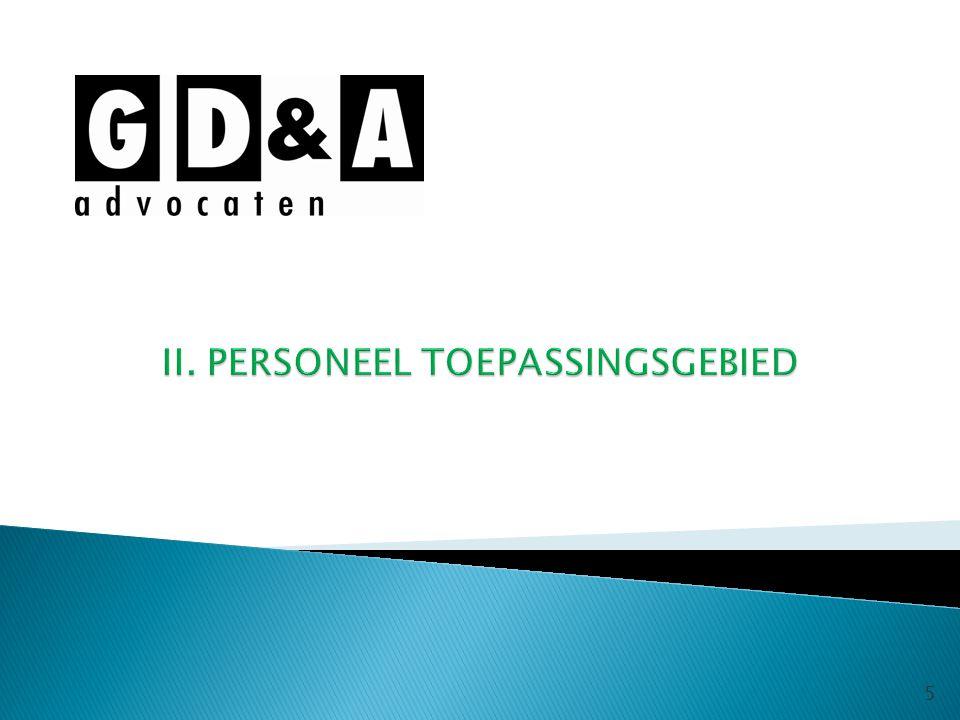 II. PERSONEEL TOEPASSINGSGEBIED