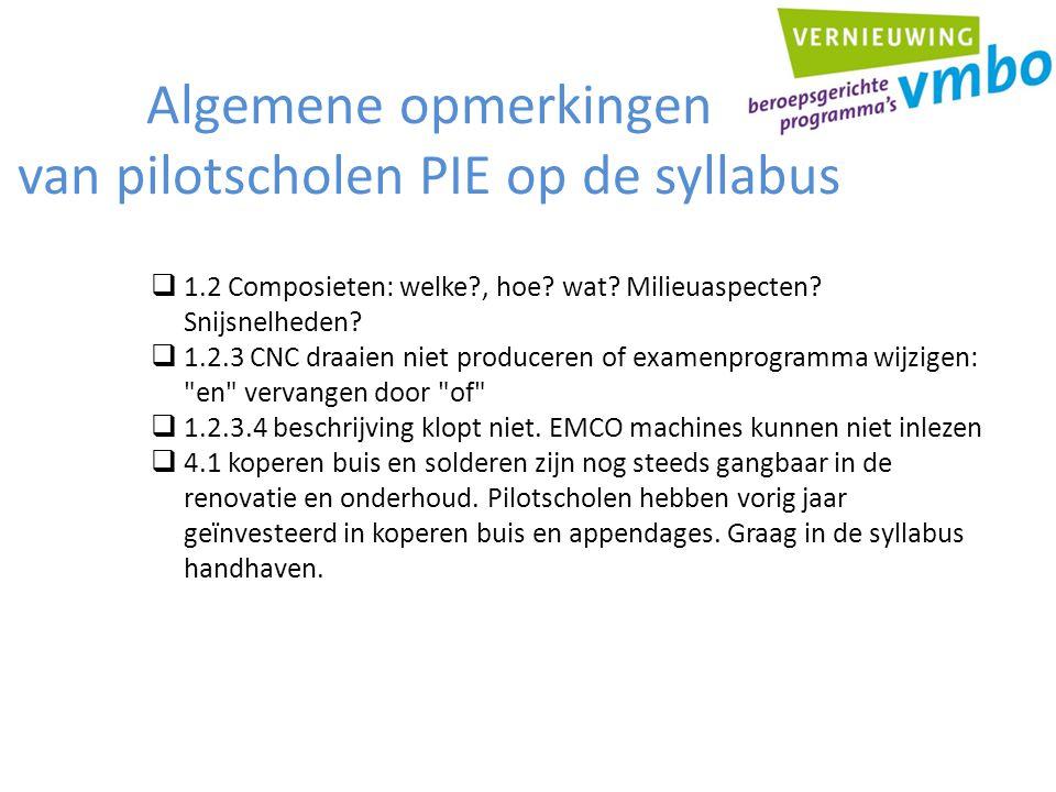 Algemene opmerkingen van pilotscholen PIE op de syllabus