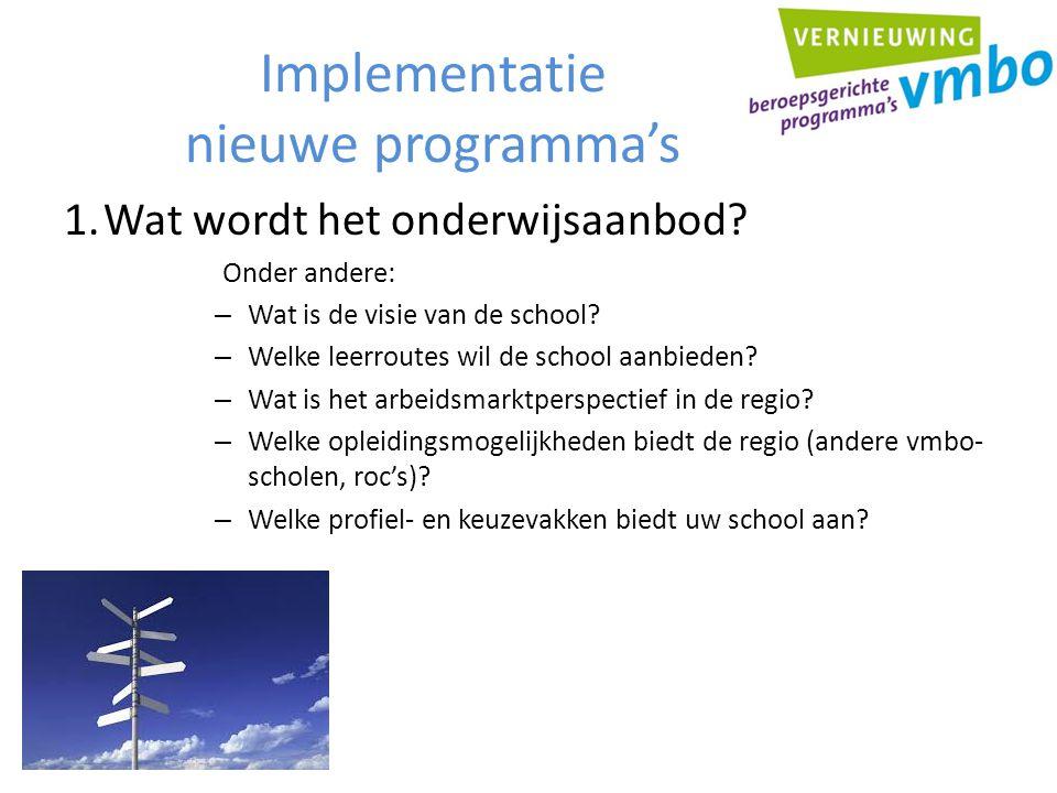 Implementatie nieuwe programma's