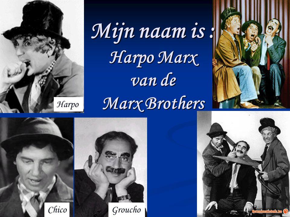 Mijn naam is : Harpo Marx van de Marx Brothers