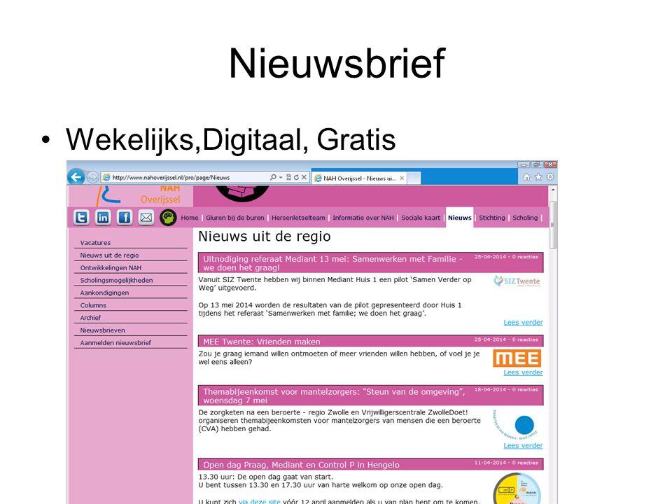 Nieuwsbrief Wekelijks,Digitaal, Gratis