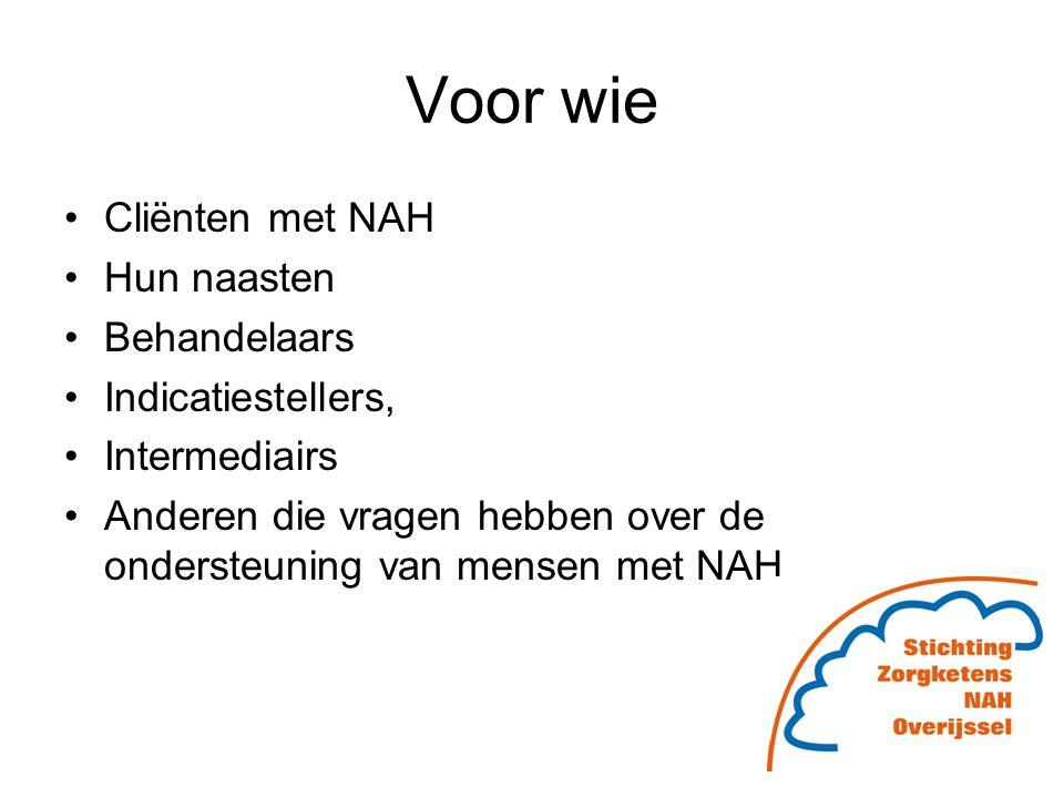 Voor wie Cliënten met NAH Hun naasten Behandelaars Indicatiestellers,