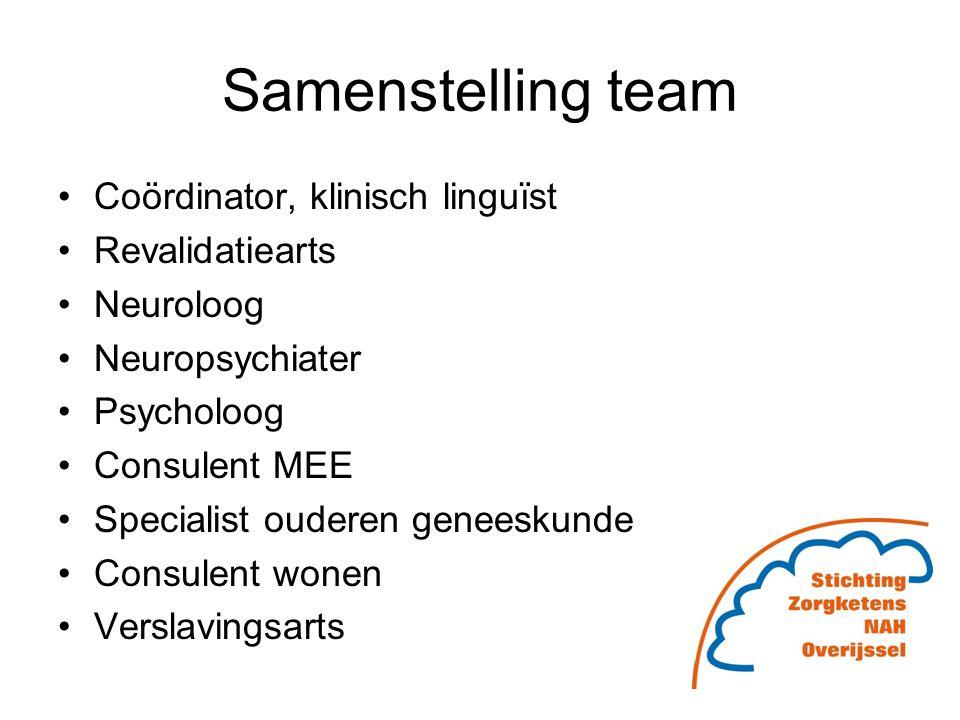 Samenstelling team Coördinator, klinisch linguïst Revalidatiearts