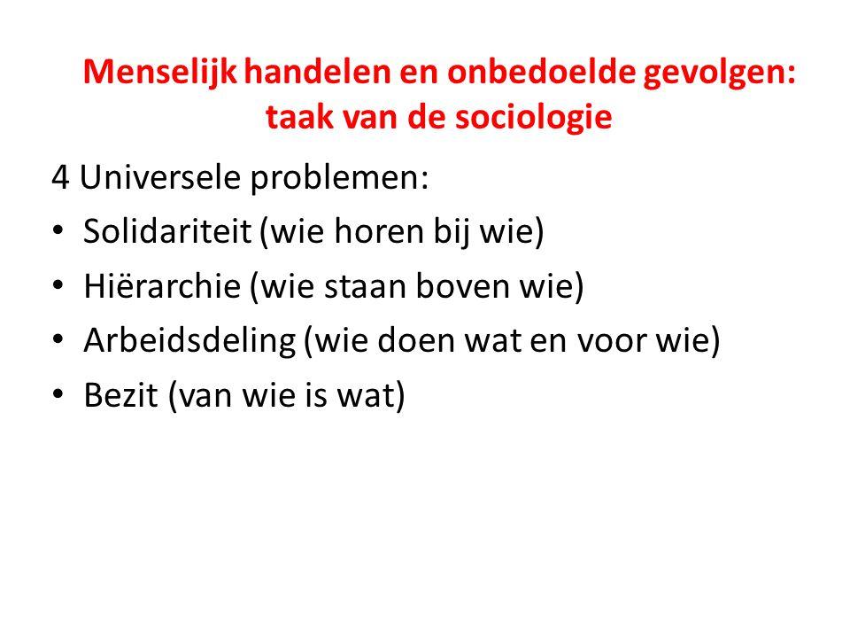 Menselijk handelen en onbedoelde gevolgen: taak van de sociologie