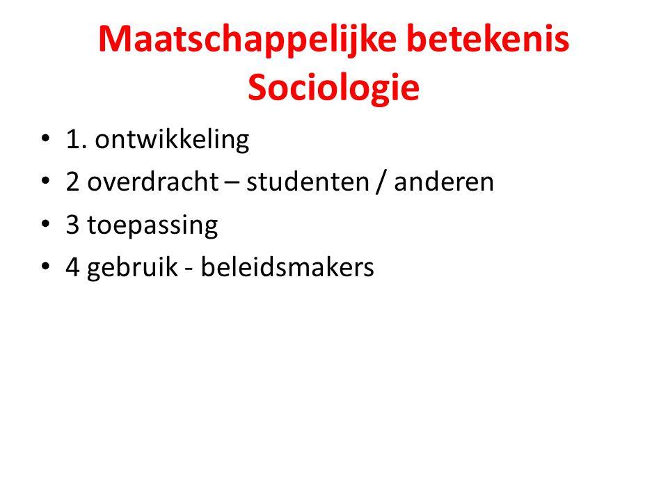 Maatschappelijke betekenis Sociologie