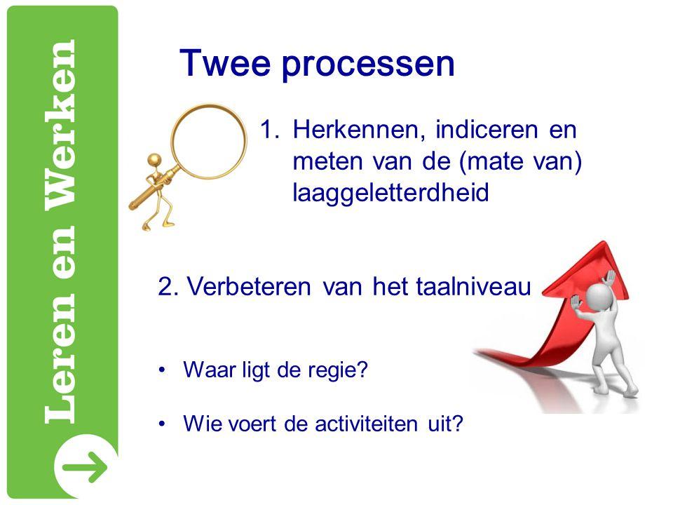 Twee processen Herkennen, indiceren en meten van de (mate van) laaggeletterdheid. 2. Verbeteren van het taalniveau.