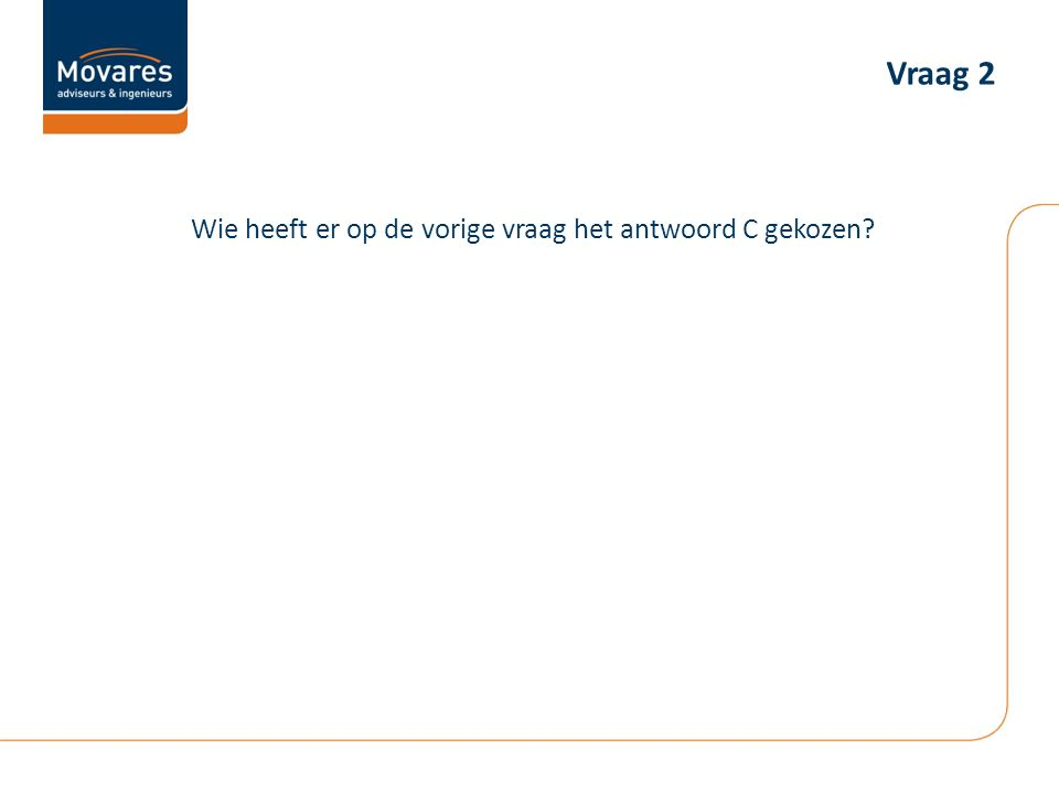 Vraag 2 Wie heeft er op de vorige vraag het antwoord C gekozen