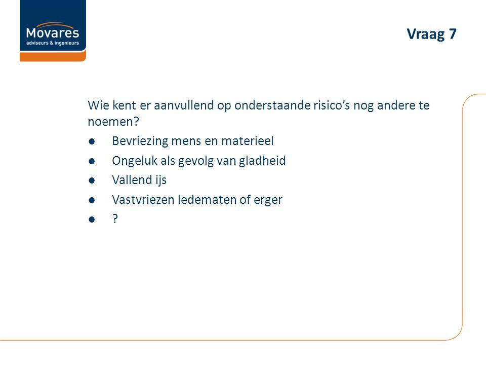 Vraag 7 Wie kent er aanvullend op onderstaande risico's nog andere te noemen Bevriezing mens en materieel.