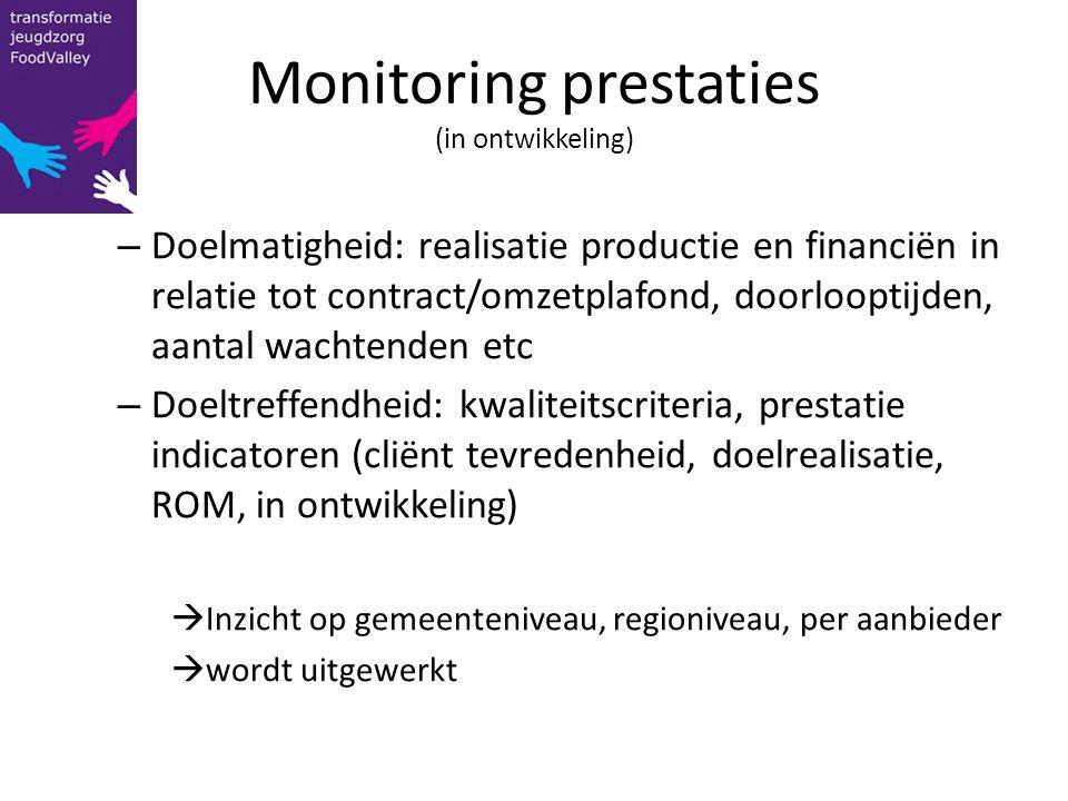 Monitoring prestaties (in ontwikkeling)