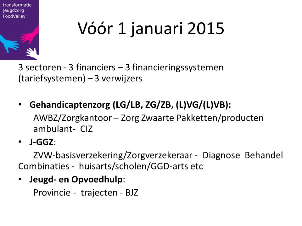 Vóór 1 januari 2015 3 sectoren - 3 financiers – 3 financieringssystemen (tariefsystemen) – 3 verwijzers.