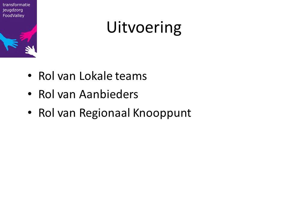 Uitvoering Rol van Lokale teams Rol van Aanbieders