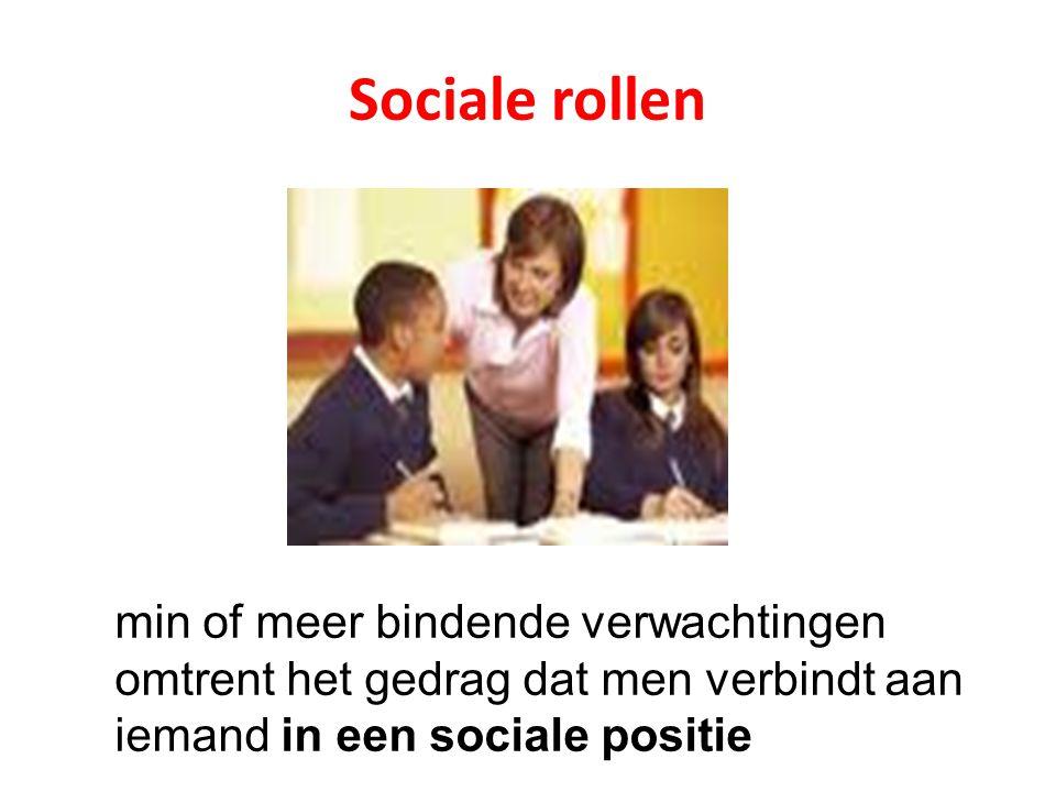 Sociale rollen min of meer bindende verwachtingen omtrent het gedrag dat men verbindt aan iemand in een sociale positie.