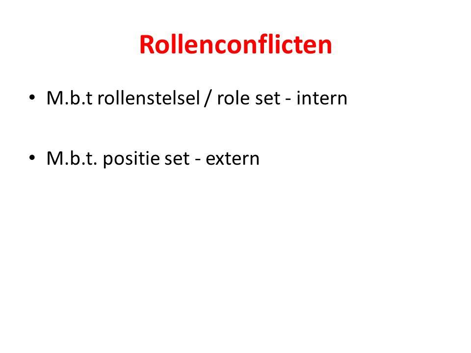 Rollenconflicten M.b.t rollenstelsel / role set - intern