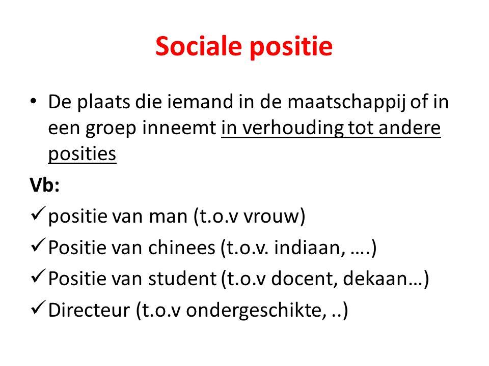 Sociale positie De plaats die iemand in de maatschappij of in een groep inneemt in verhouding tot andere posities.