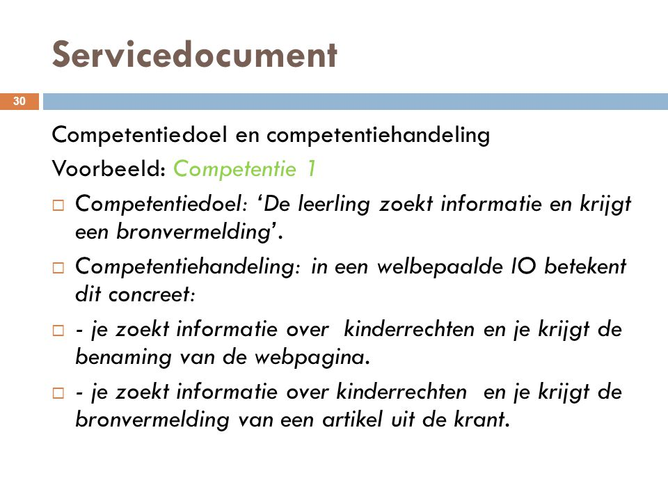 Servicedocument Competentiedoel en competentiehandeling