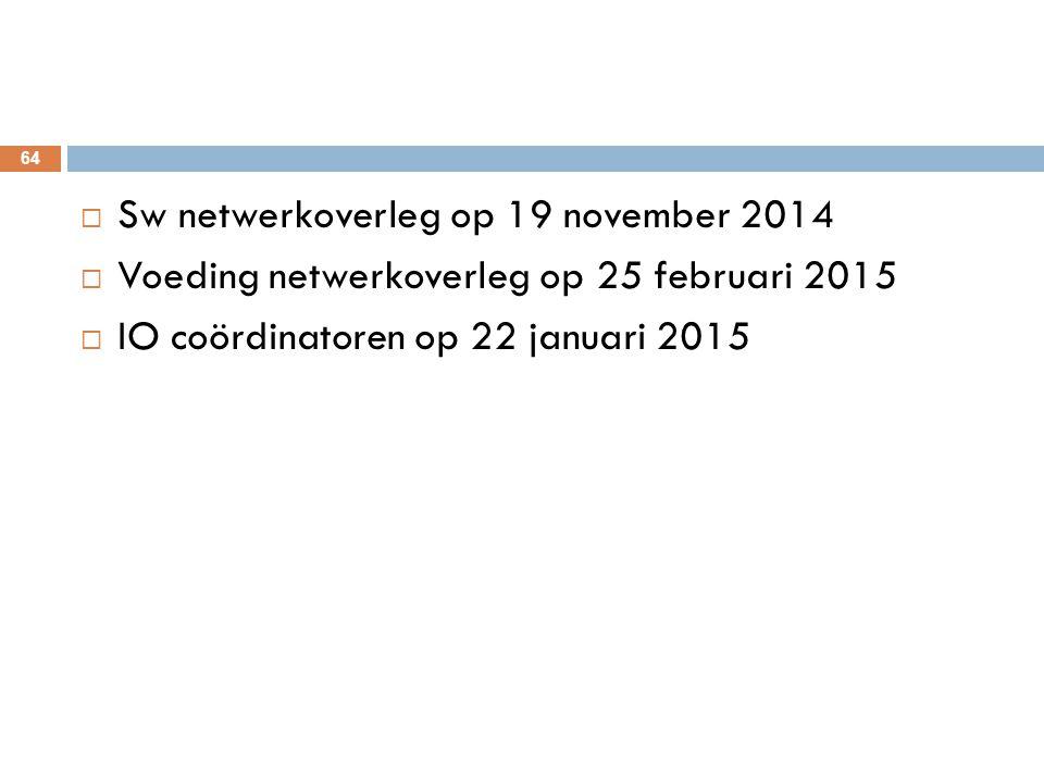 Sw netwerkoverleg op 19 november 2014