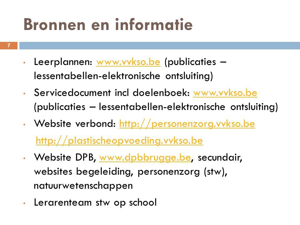 Bronnen en informatie Leerplannen: www.vvkso.be (publicaties – lessentabellen-elektronische ontsluiting)