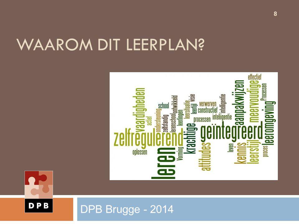 Waarom dit leerplan DPB Brugge - 2014