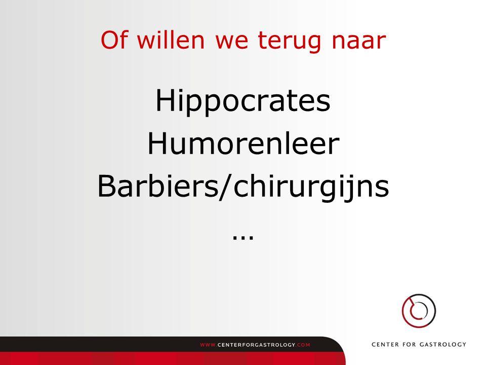 Hippocrates Humorenleer Barbiers/chirurgijns …