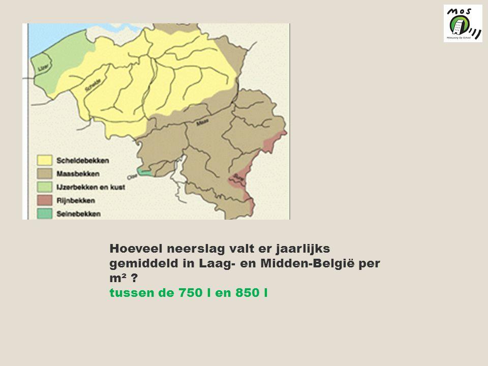 Hoeveel neerslag valt er jaarlijks gemiddeld in Laag- en Midden-België per m²