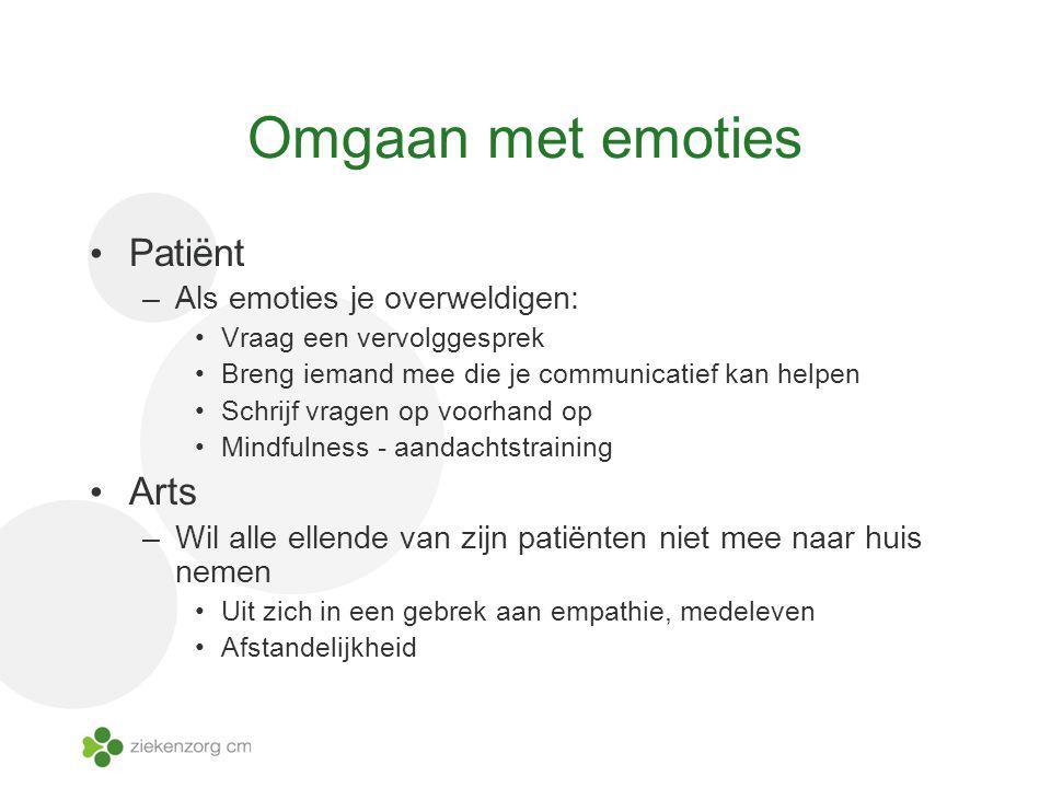 Omgaan met emoties Patiënt Arts Als emoties je overweldigen: