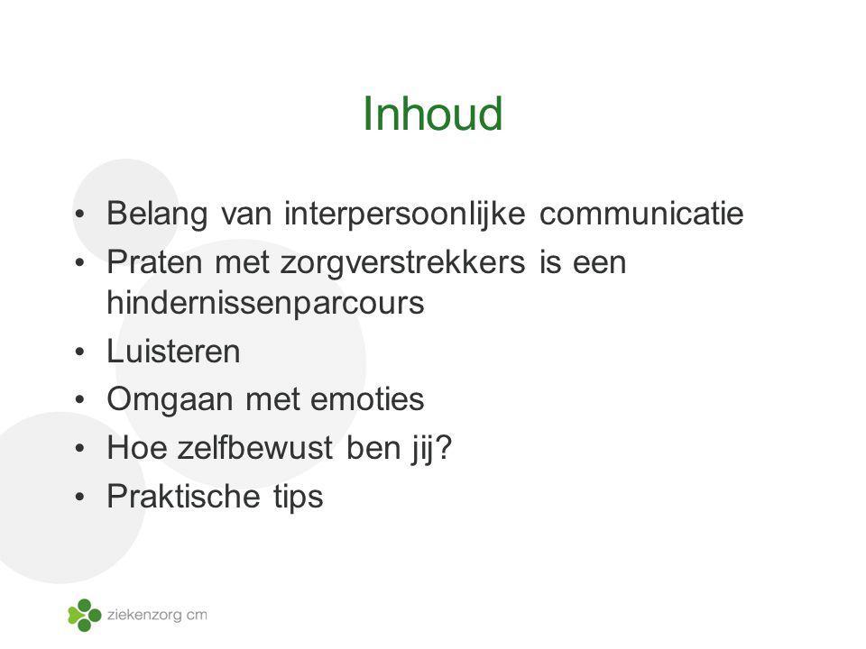 Inhoud Belang van interpersoonlijke communicatie