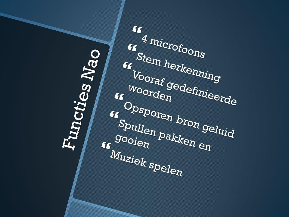 Functies Nao 4 microfoons Stem herkenning Vooraf gedefinieerde woorden