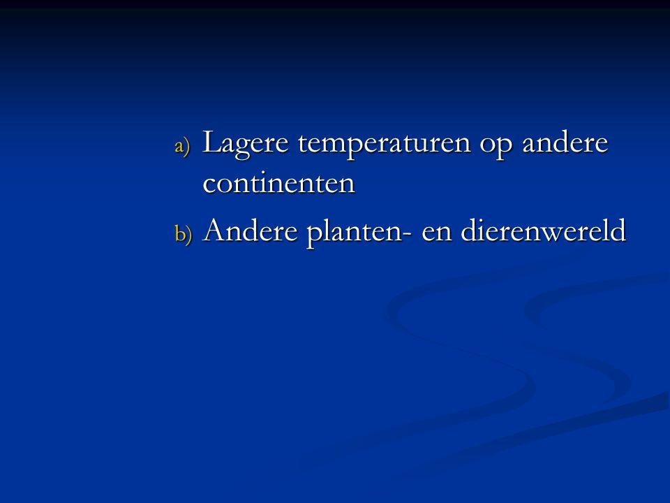 Lagere temperaturen op andere continenten